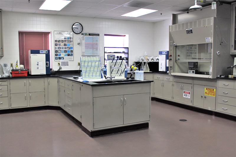 Interior of offices showing laboratory workspace and equipment